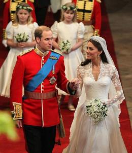 Prince William (L) and his new wife Kate, The Duchess of Cambridge