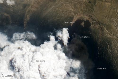 Satellite looks down the eye of erupting nabro volcano
