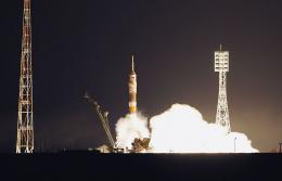 The Russian Soyuz TMA-21 rocket blasts off on April 5