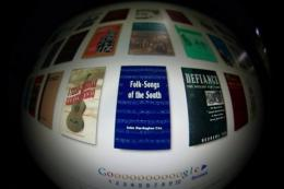 The screen of a computer featuring a Google Book search on the home page of Internet giant Google's website