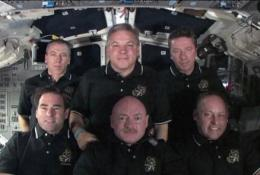 This image released by NASA shows the STS-134 crew aboard space shuttle Endeavour