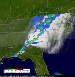 TRMM Satellite sees massive thunderstorms in severe weather system