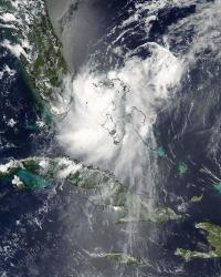 NASA satellites saw Tropical Depression Emily struggle over the weekend