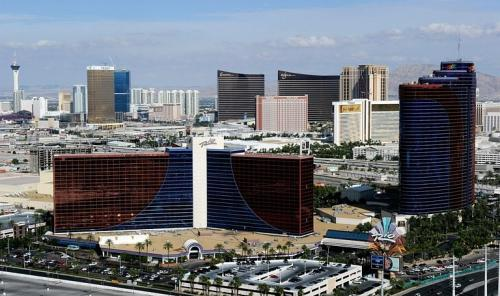 A general view of the Rio Hotel & Casino seen in front of other hotel-casinos on the Las Vegas Strip