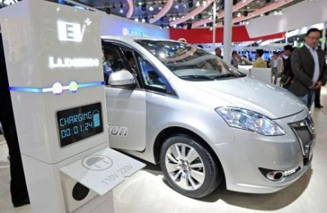 An electric car of Chinese car manufacturer Dongfeng motor group