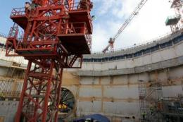 A picture taken last week of work on a new nuclear power plant at Flamanville, France