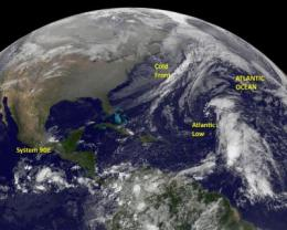 GOES satellite eyeing late season lows for tropical development