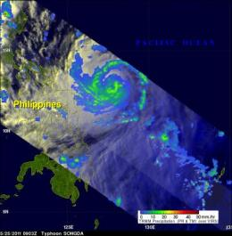 NASA's TRMM satellite sees a well-organized, major Typhoon Songda