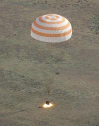 The Russian Soyuz TMA-20 space capsule lands in Kazakhstan