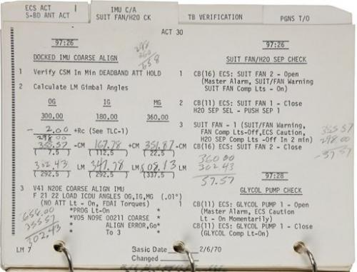 This image released by Heritage Auctions shows a partial view of the Lunar Module Systems Activation Checklist
