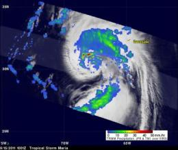 NASA's TRMM satellite reveals heaviest rainfall in Maria's northwestern quadrant