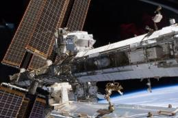 This NASA image obtained in May 2011 shows the International Space Station's starboard truss