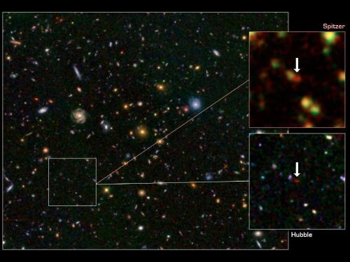 NASA telescopes help find rare galaxy at dawn of time