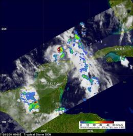 Tropical Storm Don analyzed in 3 NASA satellite images