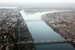 An aerial view shows the Nile river cutting through Khartoum in January 2011