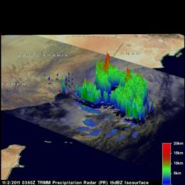 TRMM Satellite sees Tropical Storm Keila form in the Arabian Sea