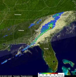 NASA's TRMM satellite sees deadly tornadic thunderstorms in Southeastern US