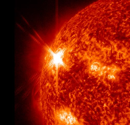 A 360 degree view of an X-class flare and A CME
