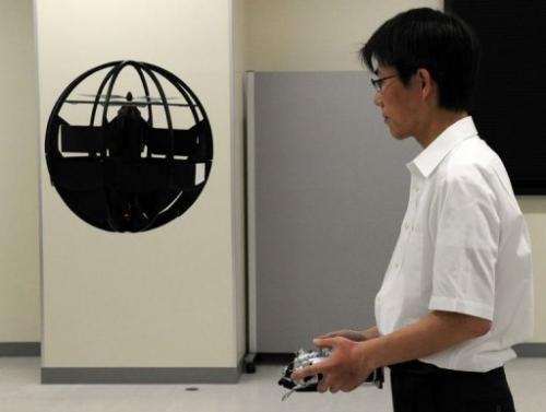 About the size of a beachball and jet black, the remote-controlled Spherical Air Vehicle resembles a tiny 'Death Star'