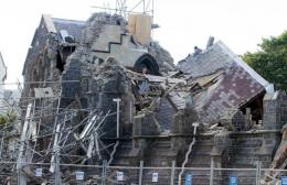 A collapsed church is pictured in Christchurch after a 6.3-magnitude earthquake hit the New Zealand city