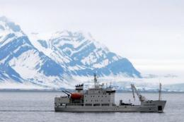 A cruise ship is seen in the Norwegian island of Spitsbergen