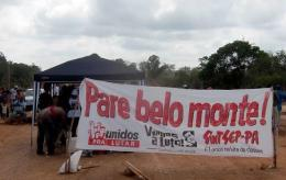 Activists block the road leading to the constrution site of Belo Monte hydroelectric dam