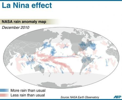 A graphic showing the global rainfall anomaly in December 2010 attributed to the La Nina weather system