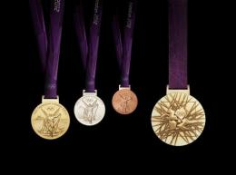A handout image obtained from the London 2012 organising committee (LOCOG) shows the London 2012 Olympic medals