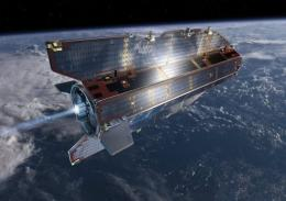 An artist's impression of the Ocean Circulation Explorer (GOCE) satellite