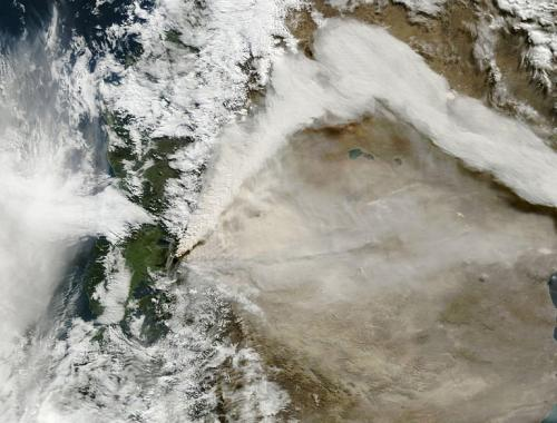 A NASA Earth Observatory satellite image shows the ash plume from the volcano