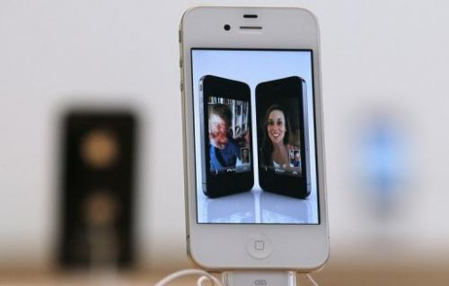 An iPhone 4 is displayed at an Apple Store in San Francisco