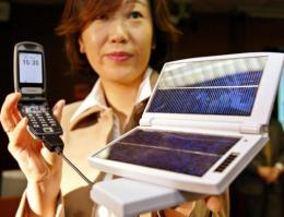 An NTT solar powered battery charger suitable for charging mobile phones and other devices, launched in 2004