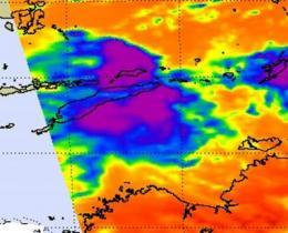 Aqua satellite sees weaker Tropical Depression Errol crossing West Timor
