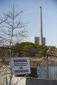 A security sign on a fence at the Oyster Creek Generating Station