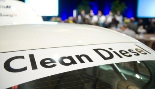 A Volkswagen Jetta TDI car sits on display in 2009
