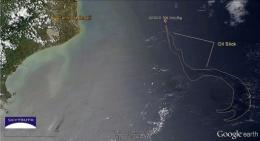 Chevron said the sheen was located about 120 kilometers (72 miles) off Brazil and continued moving away from the coast