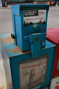 Chicago Sun-Times newspapers are offered for sale in 2009 in Chicago, Illinois