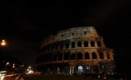 Colosseum in Rome without lights during Earth Hour