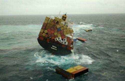 Containers floating near the grounded container ship 'Rena' in the Bay of Plenty near Tauranga