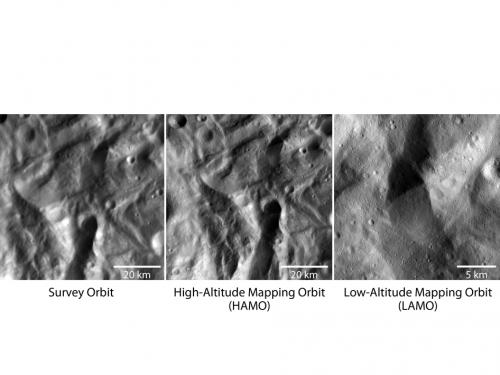 Dawn sends first low altitude images of Vesta