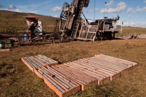 Drillers extract samples of stone as part of the Aratiri iron strip mine in Valentines, center-west of Uruguay