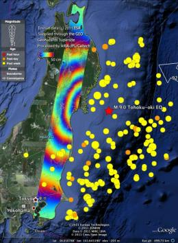 Earth movements from Japan earthquake seen from space