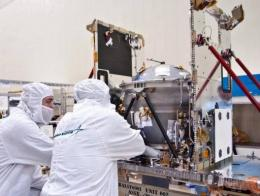 Engineers conduct checks on one of two of NASA's GRAIL spacecraft in 2010