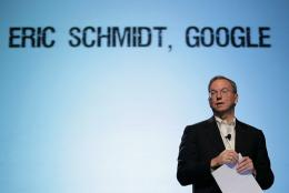 Eric Schmidt speaks during the TechCrunch Disrupt Conference in San Francisco, California, in 2010