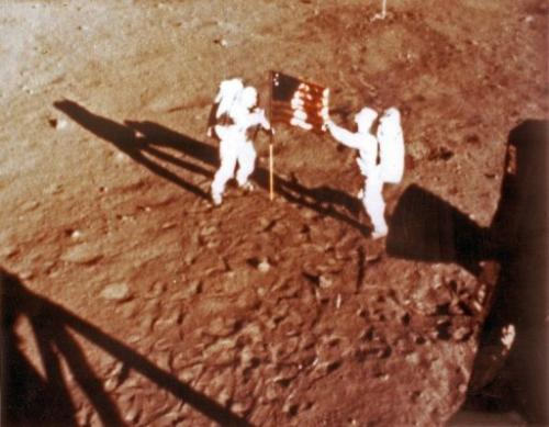 File photo shows US astronauts Neil Armstrong and