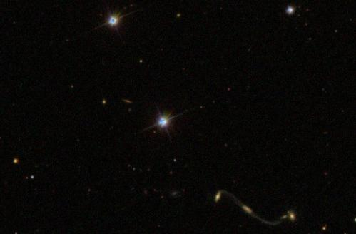 Galaxy Zoo reveals curious 'Violin clef' quadruple galaxy merger
