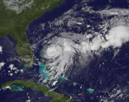 GOES-13 movie catches Tropical Storm Bret form and intensify