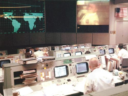 Image: View of mission operations control room during the Apollo 13 mission