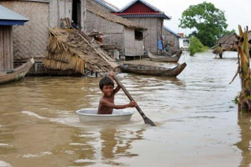 In Cambodia more than 330,000 hectares of rice paddy have been inundated by flood waters