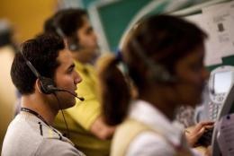 Indian staff working at a call centre in Gurgaon on the outskirts of New Delhi in 2008